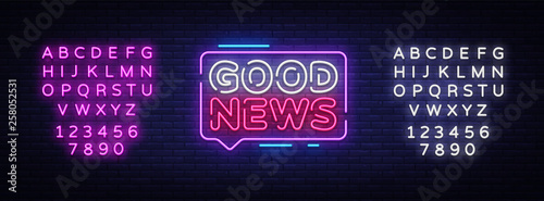 Valokuvatapetti Good News neon sign vector