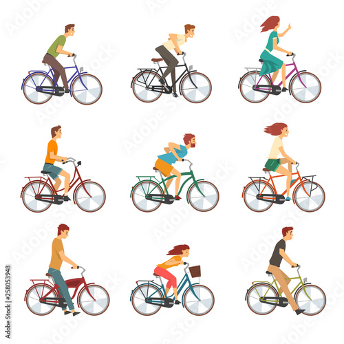 People Riding Bicycles Set, Men and Women on Bikes Vector Illustration Canvas Print