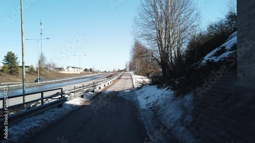 Footage of bicycle walking road path in Seinajoki, Finland. Sunny spring weather.