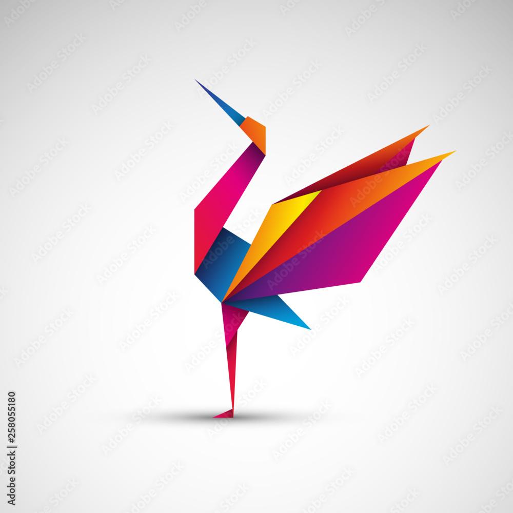 Fototapeta Żuraw origami. Logo wektor