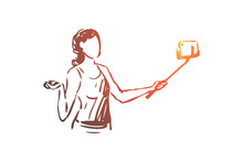 Blogger, Smartphone, Selfie, Woman Concept. Hand Drawn Isolated Vector.