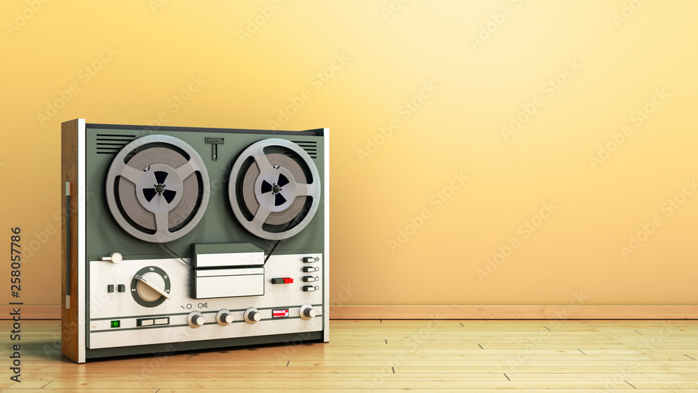 Fototapety, obrazy: Old portable reel to reel tube tape recorder on the flor in room 3d render image