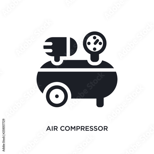 Fototapeta air compressor isolated icon. simple element illustration from construction concept icons. air compressor editable logo sign symbol design on white background. can be use for web and mobile obraz