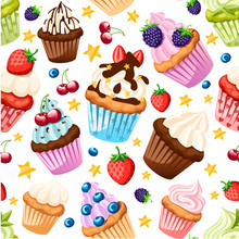 Seamless Pattern. Collection Of Cupcakes With Different Ingredients. Set Of Sweet Cakes. Colorful Dessert. Flat Vector Illustration On White Background