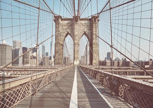 Retro stonowany obrazek most brooklyński, Nowy Jork, usa.