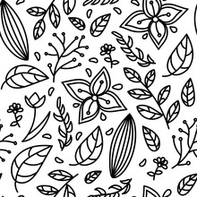 Seamless Black White Floral Pattern