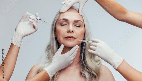 Photo  Anti wrinkles aesthetic treatment on face