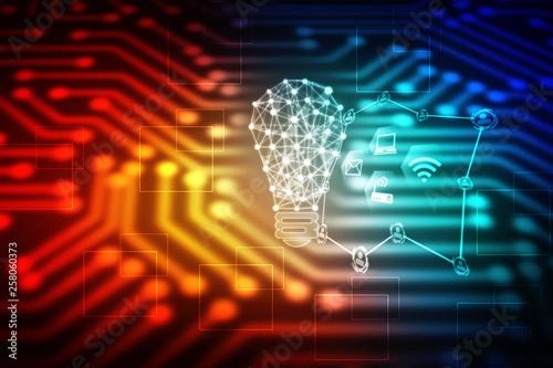 Stampa su Tela  bulb future technology, innovation background, creative idea concept