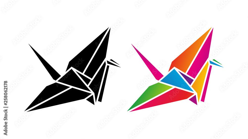 Fototapeta Żuraw origami low poly. Logo wektor