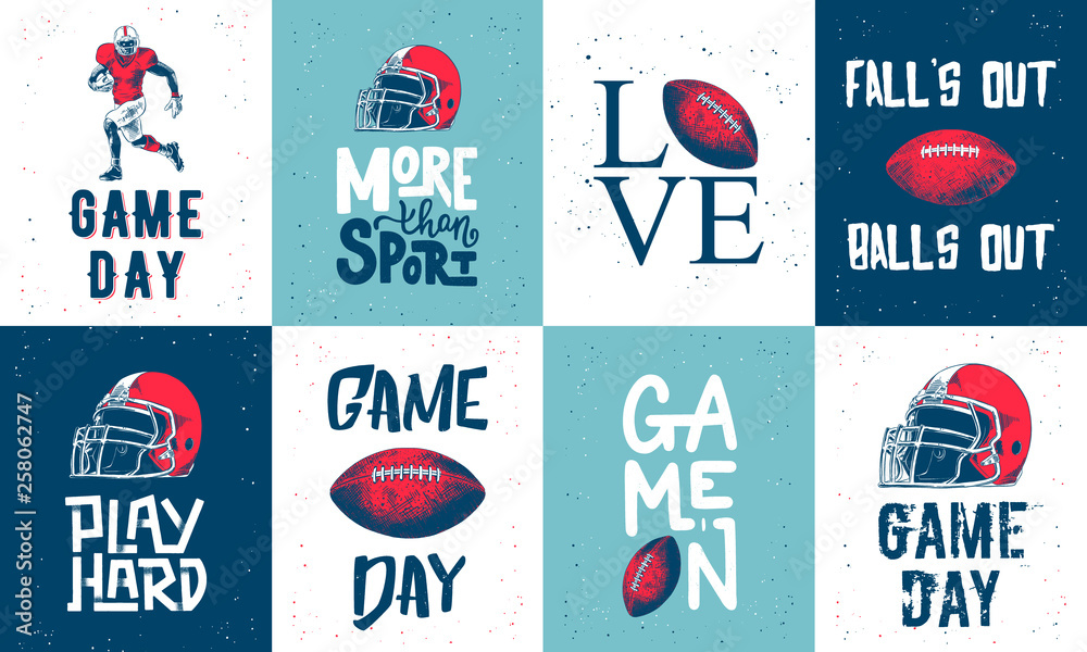 Fototapeta Set of vector engraved style posters, decoration and print. Hand drawn sketches of american football with modern typography and lettering. Detailed vintage etching style drawing.