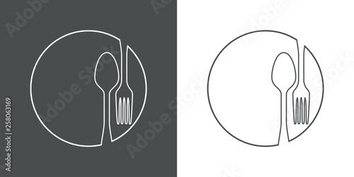 Obraz Icono plano lineal cubiertos en círculo en gris y blanco - fototapety do salonu
