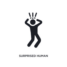 Surprised Human Isolated Icon. Simple Element Illustration From Feelings Concept Icons. Surprised Human Editable Logo Sign Symbol Design On White Background. Can Be Use For Web And Mobile