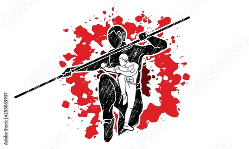 Photo  Kung Fu with quarterstaff action cartoon graphic vector.