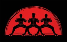 Group Of People Pose Kung Fu Fighting Action Graphic Vector.