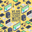 Gadget seamless pattern vector digital device with display of laptop tablet camera isometric illustration backdrop of electronic equipment virtual headset smartphone headphone background