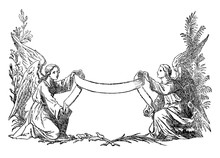 Vintage Antique Illustration And Line Drawing Or Engraving Of Two Angels Holding Decorative Ribbon. There Is Space For Your Text.