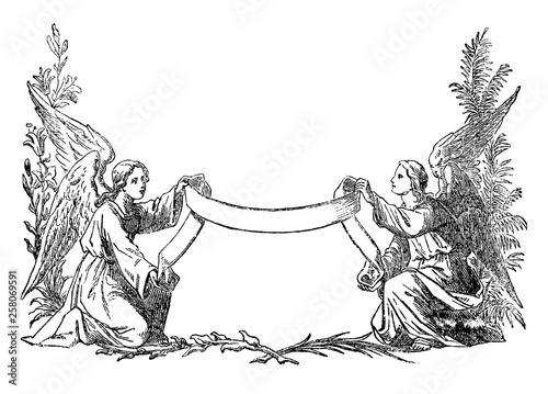 Cuadros en Lienzo Vintage antique illustration and line drawing or engraving of two angels holding decorative ribbon