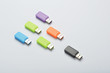 Leadership concepts with multi colored usb sticks