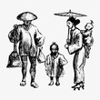 Traditional Japanese peasant family