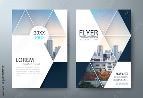 Fototapeta Annual report brochure flyer design, Leaflet presentation, book cover templates, layout in A4 size. vector. obraz