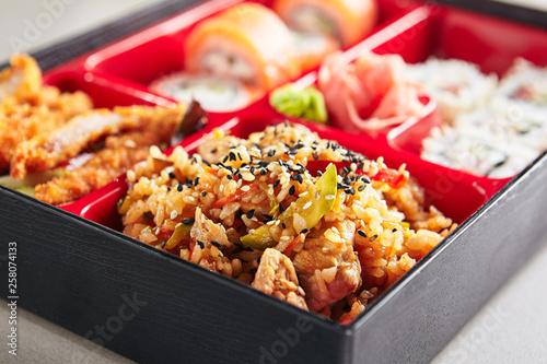 Fresh Food Portion in Japanese Bento Box Wallpaper Mural