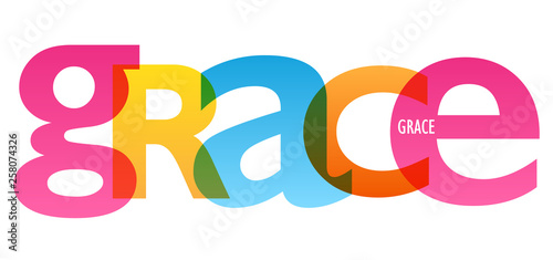 Fotografie, Obraz  GRACE colorful typography banner