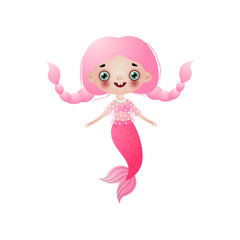 Cute smiling mermaid girl with pink long hair braided bunches isolated on white background