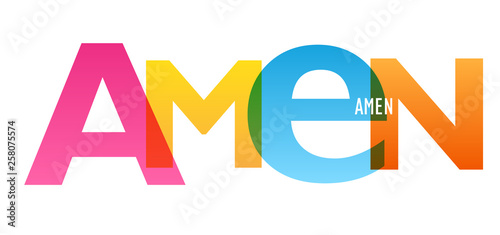 AMEN colorful typography banner Canvas Print