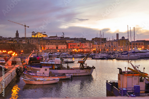 Sunset in Bisceglie (Puglia, Italy) port Wallpaper Mural