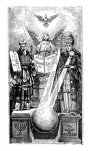 Vintage Antique Metaphorical Illustration And Line Drawing Or Engraving Of Biblical Moses Holding Stone Tablets With Ten Commandments, Angel Holding Book Representing Bible And Pope With Staff.