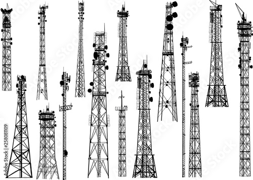 group with fifteen antenna towers on white Fototapeta