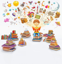 3D Illustration Rendering   Of  Little  Young Ginger Boy   Reading A Book   On White Background  ,many Books  ,objects Flying Out .Concept Art