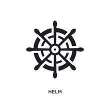 Helm Isolated Icon. Simple Element Illustration From Nautical Concept Icons. Helm Editable Logo Sign Symbol Design On White Background. Can Be Use For Web And Mobile