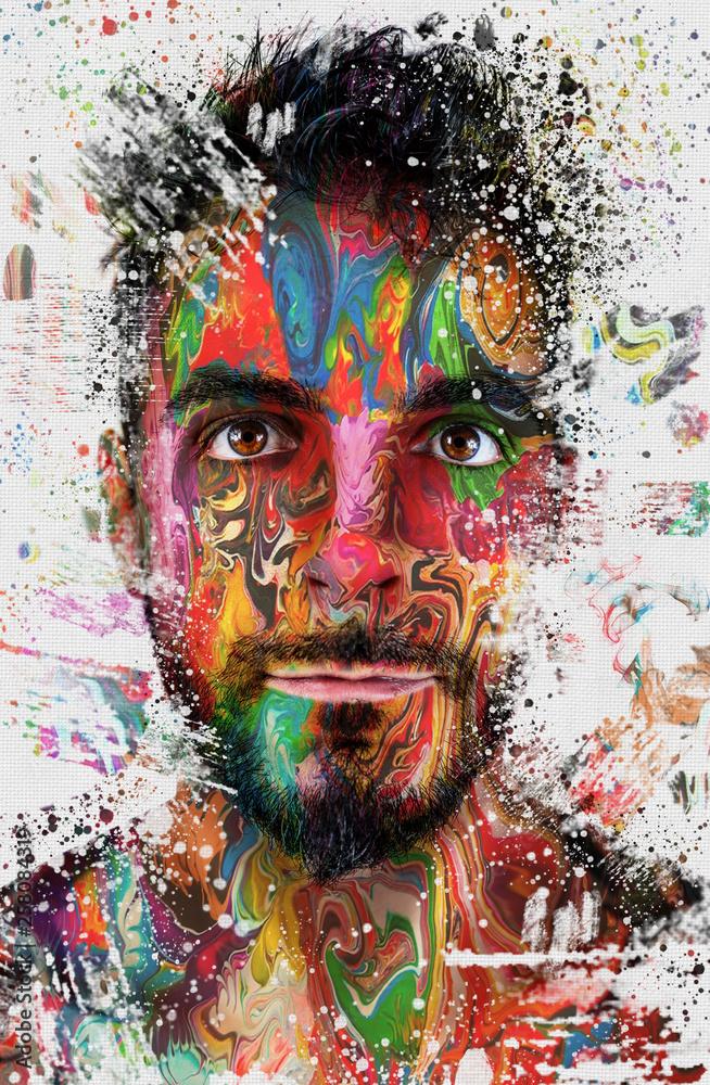 Composizione ritratto colorato