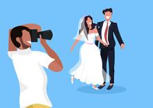 Wedding Photographer Shooting On Camera Newlyweds Man