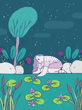 La Fille Et L'étang