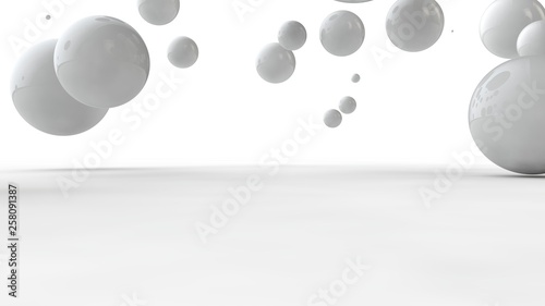 Photo  3D illustration of balls of different sizes on a white surface