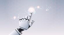 Robot Hand Touching Abstract Virtual User Interface Touchscreen Artificial Intelligence Digital Futuristic Technology Concept Flat Horizontal