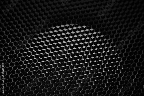 Türaufkleber Darknightsky Honeycomb grey dark and bright pattern