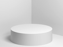 White Cylindrical Podium 3d Re...
