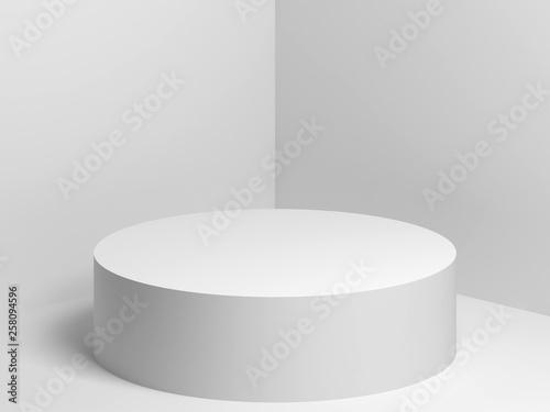 Fototapeta  White cylindrical podium 3d render
