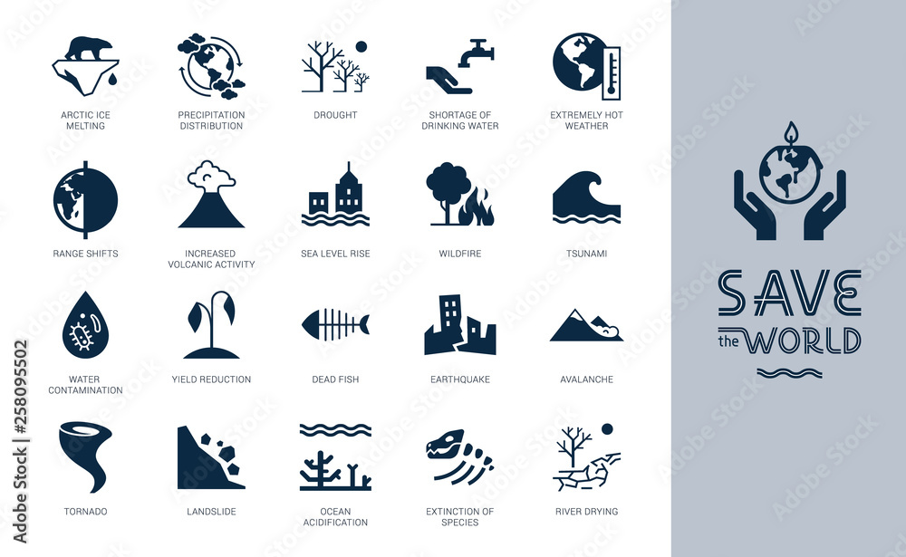 Fototapety, obrazy: Save the World big icon set. Different variants of environmental icons on the theme of ecology in flat style isolated on background. Save the World flat style icon set with lettering.