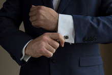 The Businessman Wear Suit With Cuff Link For Job Concept.