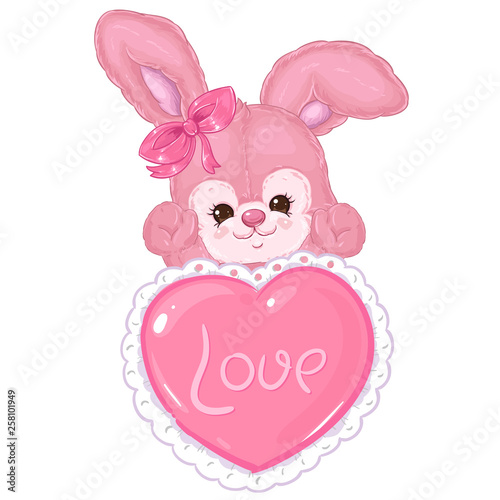 Photo  Cute pink fluffy bunny with big heart