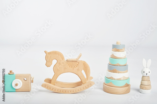 Obraz na plátne wooden toys isolated on white background