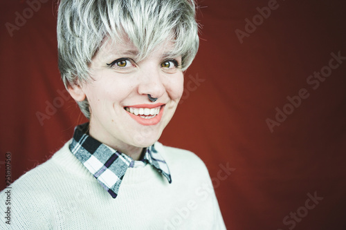 Fotografie, Obraz  Beautiful and happy woman with gray hair