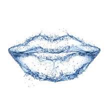 Lips Made Of Water Splashes. F...