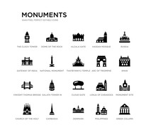 Set Of 20 Black Filled Vector Icons Such As Greek Column, Monument Site, Spain, Russia, Philippines, Denmark, Gateway Of India, Hassan Mosque, Alcala Gate, Dome Of The Rock. Monuments Black Icons