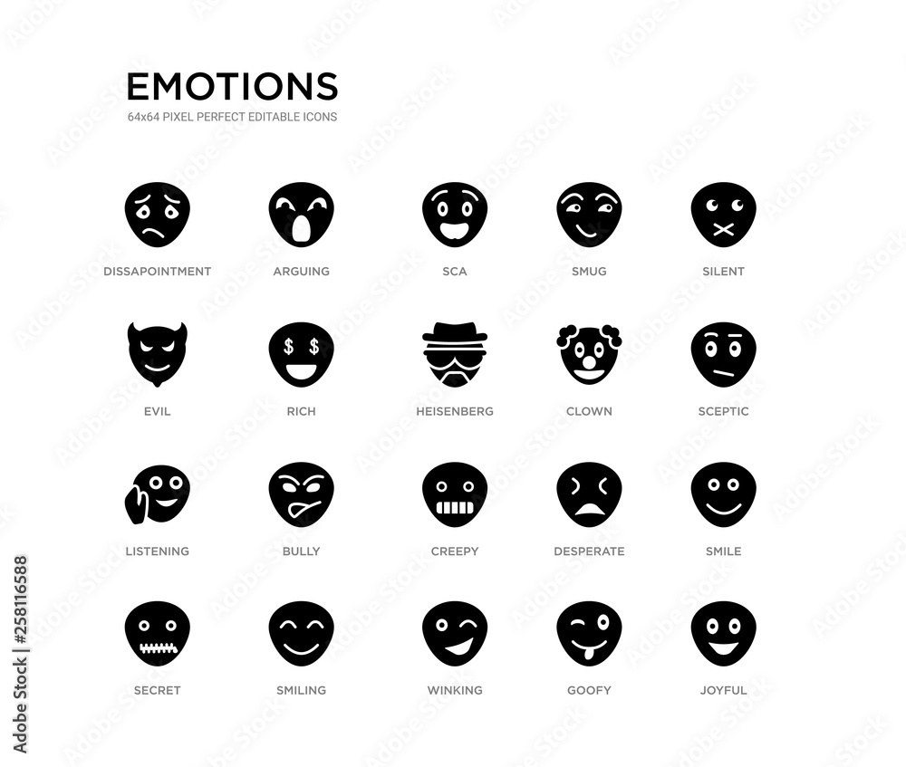 Photo  set of 20 black filled vector icons such as joyful, smile, sceptic, silent, goofy, winking, evil, smug, sca, arguing