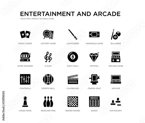 Photo  set of 20 black filled vector icons such as air hockey, arcade, arcade game, bil